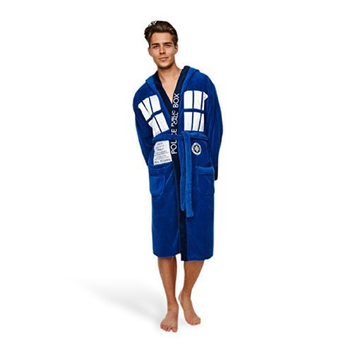 Dr. Who Tardis Unisex Cotton Terry Cloth Bath Robe, Blue,...