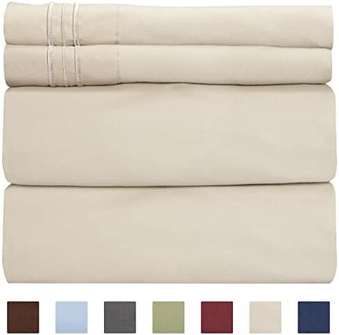 King Size Sheet Set - 4 Piece - Hotel Luxury Bed Sheets - Extra Soft - Deep Pockets - Easy Fit - Breathable & Cooling Sheets - Wrinkle Free - Comfy – Beige Tan Bed Sheets - Kings Sheets – 4 PC