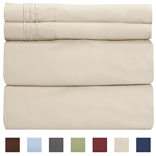CGK Unlimited Twin Size Sheet Set - 4 Piece Set - Hotel Luxury Bed Sheets - Extra Soft - Deep Pockets - Easy Fit - Breathable & Cooling - Wrinkle Free - Comfy - Beige Tan Bed Sheets - Twins Sheets - Brushed Twill Sheet Set