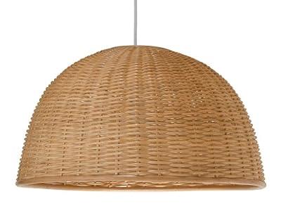 "KOUBOO 1050031 Wicker Dome Pendant Light, 19.5"" x 19.5"" x 17.5"", Natural"