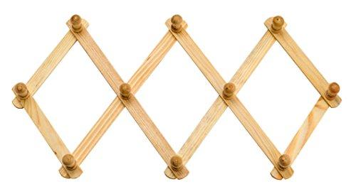 Wall Rack Wood Expandable Hat, Cap, Belt, Umbrella Scarves, Necklaces, Neckties w/ Pegs