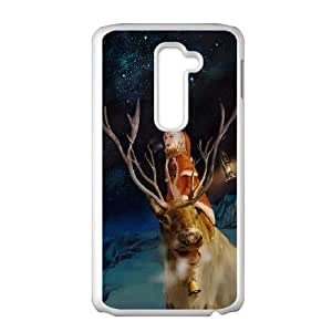 LG G2 Cell Phone Case White Merry Christmas With Rudolf LV7988961
