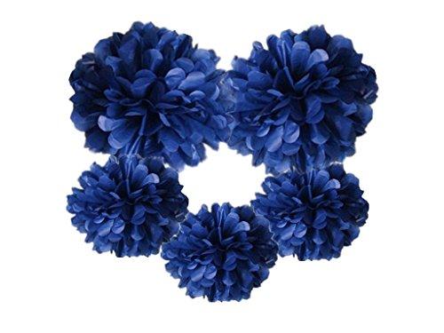 Hanzen 5 Pcs Mixed 10 14 Tissue Paper Pom Poms Flower Balls For Birthday Wedding Party Baby Shower Outdoor Decorations (Navy Blue)