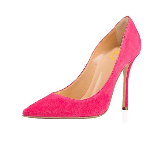 Fsj Women Faux Suede Puntschoen Hoge Hak Pumps Sexy Slip Op Stiletto Schoenen Voor Kantoormaat 4-15 Us Deep Pink