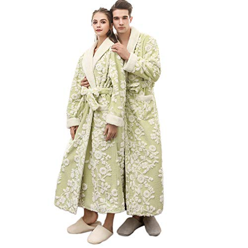 Clearance Sales Men Women Winter Lengthened Coralline Plush Shawl Bathrobe Flower Fleece Kimono Full Length Robe Coat Thicken Homewear Sleepwear (Green, 3XL)