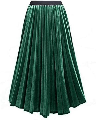 DQHXGSKS Nueva Primavera otoño Color metálico Faldas largas para ...