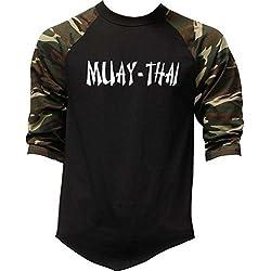 Men's Muay Thai Fighter V442 Camo Raglan Baseball T-Shirt Medium Camo