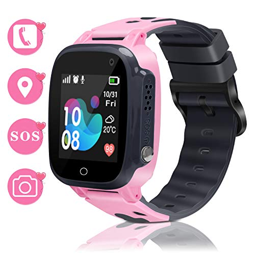 Smart Watch for Kids Smartwatch Phone GPS Watch for Kids Girls Boys Waterproof Watch with SOS Camera Alarm Clock Security Zone Voice Chat Birthday Gifts for Girls Boys Age 3-15 Education Toys Pink
