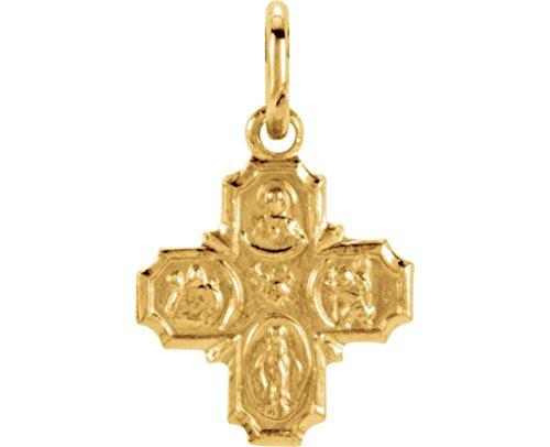14k Yellow Gold Four-Way Cross