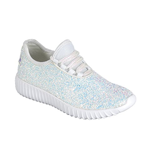 Link Lace up Rock Glitter Fashion Sneaker for Children/Girl/Kids White Size 8