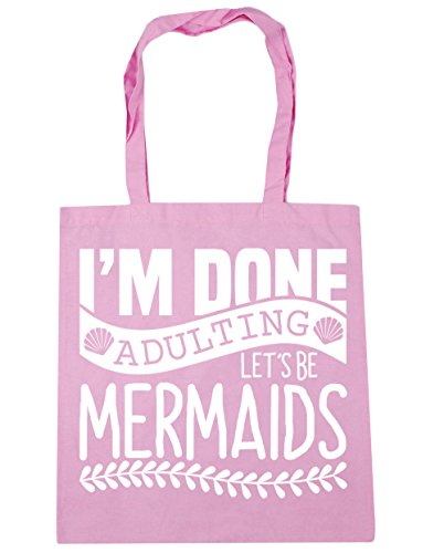 Be Beach Mermaids Gym Classic 42cm x38cm 10 Bag Shopping Tote Done Adulting Let's litres HippoWarehouse I'm Pink HzBIR