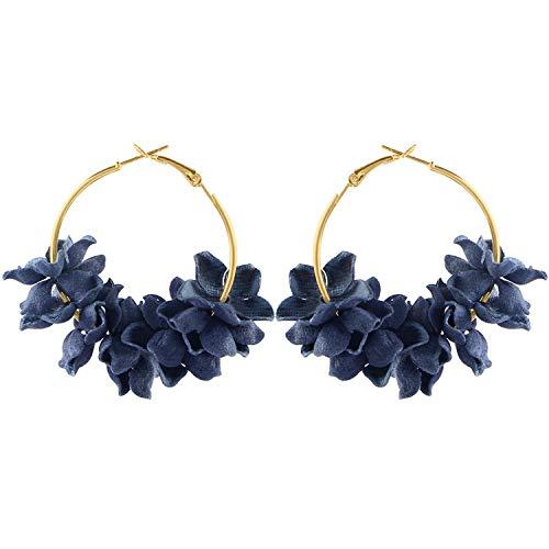 - So Beautiful Hot Earing Fashion Fabric Flower Drop Earrings For Women 2019 Colorful Petal Circle Big Fancy Earring Jewelry,Navy Blue