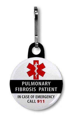 PULMONARY FIBROSIS PATIENT Medical Alert 1 inch Black Zipper Pull Charm
