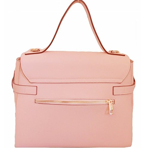 Borsa a mano in vera pelle coore rosa. Made in Italy