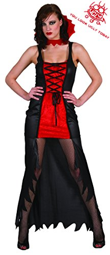 Gothic Vampiress Halloween Costume (YOU LOOK UGLY TODAY Womens Vampire Costume VAMPIRESS Halloween Party King Gothic Fancy Dress)