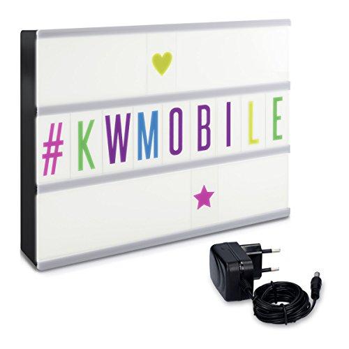 kwmobile leuchtende LED Kino Lichtbox mit Schrift mit 105 bunten Buchstaben und Stromkabel (Netzteil) - selbst gestaltbare Kinotafel