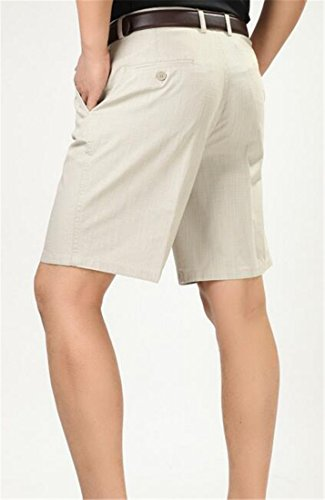 Pivaconis Mens Pleated Classic Fit Summer Casual Baggy Fit High Waist Shorts Khaki 36 by Pivaconis (Image #3)