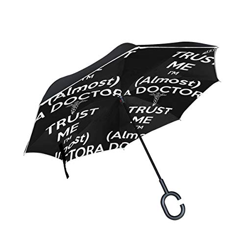Trust ME I'm (Almost) Doctor Double Layer Car Reverse Umbrella, Auto-Open Self-Standing Umbrella with C-Shape Handle, Inverted Umbrella with Light Reflection Strip