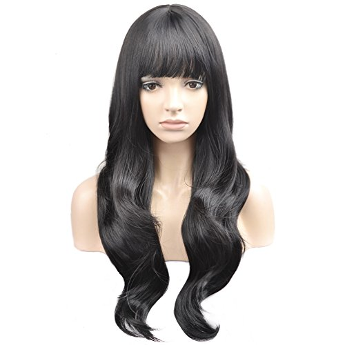 BERON Long Wavy Soft Synthetic Wig with Straight Bangs for Women Girls Wig Cap Included (Black)