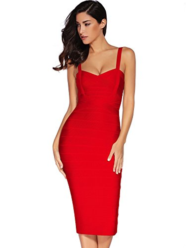 Meilun Women's Strap Midi Bandage Dress Length Party Solid Prom Bodycon Dress (M, Red1)