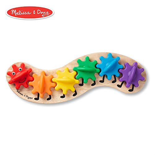 Melissa & Doug Rainbow Caterpillar Gear Toy With 6 Interchangeable Gears