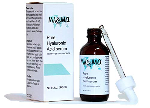 Pure Hyaluronic Acid serum for face with Vitamin C & E. Plumping action on Hyaluronic Acid Fillers areas treated (great for lips!). Organic, cruelty free, natural, paraben free, 2oz, 60ml