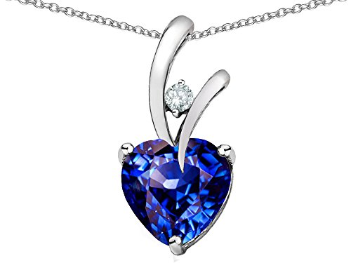 Star K Heart Shaped 8mm Simulated Tanzanite Pendant Necklace Sterling Silver