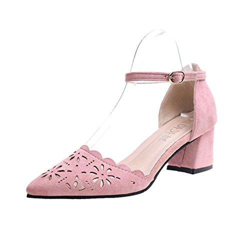 HJHY Sexy Sandalias, Sandalias de la Versión Coreana del Verano del Talón Grueso Grueso Sandalias con Punta Abierta (Color : Pink, Tamaño : 37)