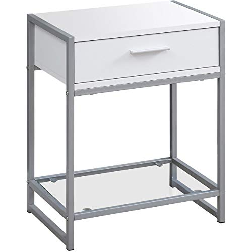 Decovio 15771-WC Hoosick 22 X 18 inch White and Clear Accent End Table or Night Stand from Decovio