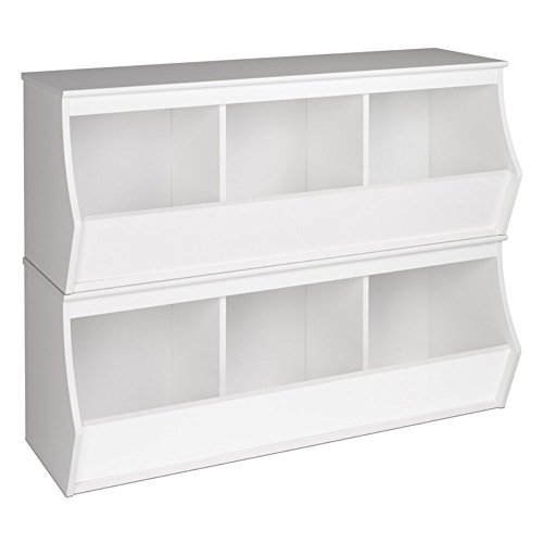 Prepac Monterey Stacked 6-Bin Storage Cubby, White by Prepac