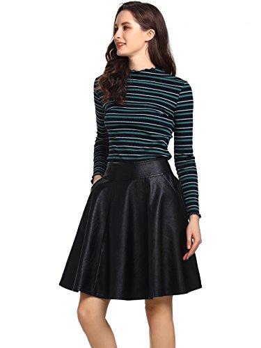 AMORETU Faux Schwarz Leder Röcke für Frauen A-Linie Faltenrock mit Taschen