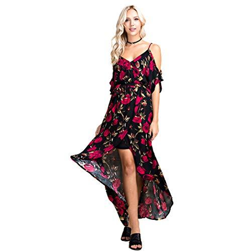 Blushing Hearts Hi Low Black with Red Flowers Dress, Medium