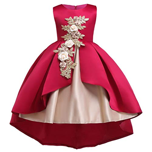 Cotton Lining Baby Girls Dress for Girls Wedding Party Dresses Kids Princess Summer Dress Children Girls Clothing Age 2-10 T,Wine Red,4T (Ware Starwars Cook)