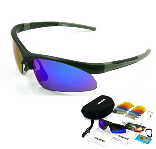 Set Interchangable (FARROVA FK1054 POLARIZED Sports Sunglasses with 5 Set Interchangeable Lenses (Main Lenses are Polarized PC Lenses with REVO plated Film at the front & AR Plated Film at the back, REVO Plated Colorfu)
