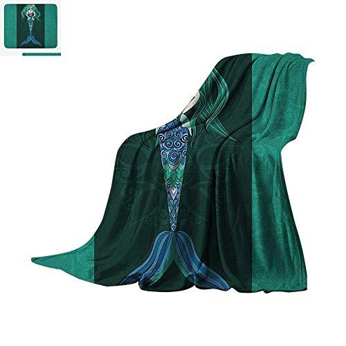 "Mermaid Custom Design Cozy Flannel Blanket Hand Drawn Mermaid on Ornate Mandala Backdrop Fantasy Design Digital Printing Blanket 60""x36"" Jade Green Dark Green Violet Blue"
