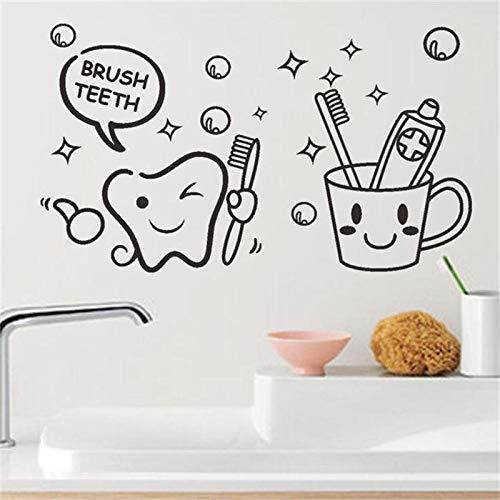 WSYYW Modern Lovely Cost Price Brush Teeth Cute Home Decor Wall Stickers Kids Bathroom washroom Laundry Room Waterproof Mural Art Purple 45x26cm