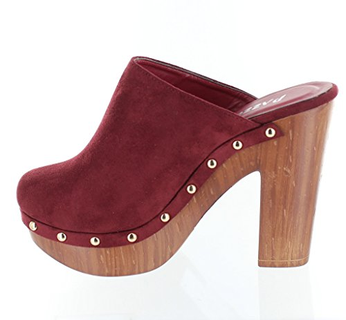 Picture of Urban Heels Women's STACEY-05 Faux Suede Studded Platform Mule Clogs Block Heel