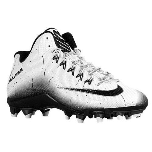 Nike Men's Alpha Pro 2 Football Cleat White/Black Size 10 M US (Alpha Pro Cleats)