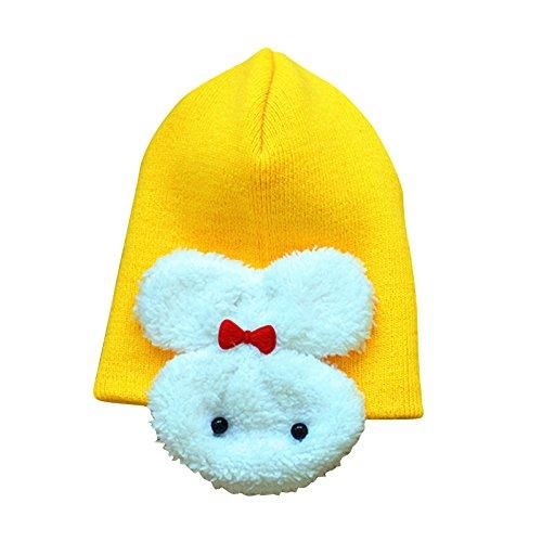 6f5999a098e05 Sombrero - TOOGOO(R)Sombrero calido de aleta de oreja de invierno para ninos  ninito chico chica bebeGorro Sombrerete Conejo de ganchillo Amarillo  ...