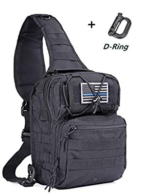 boxuan Tactical Sling Bag Pack Military Rover Shoulder Sling Backpack EDC Molle Assault Range Bags Day Pack with Tactical USA Flag Patch & D -Ring