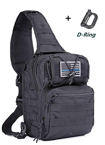 afc98983e boxuan Tactical Sling Bag Pack Military Rover Shoulder Sling Backpack EDC  Molle Assault Range Bags Day Pack with Tactical USA Flag Patch & D -Ring
