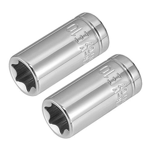 (uxcell 2Pcs 1/4-inch Drive E10 External Torx Shallow Socket, Cr-V Steel)