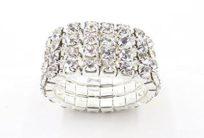WTZ - New Sparkling 4 Row Crystal Rhinestone Stretch Ring