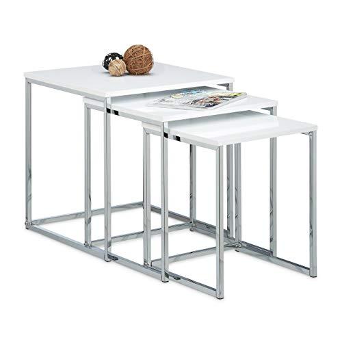 Relaxdays – Conjunto de 3 mesas auxiliares, madera y metal, diseno moderno, 42 x 40 x 40 cm, se pueden colocar uno sobre otro, color blanco