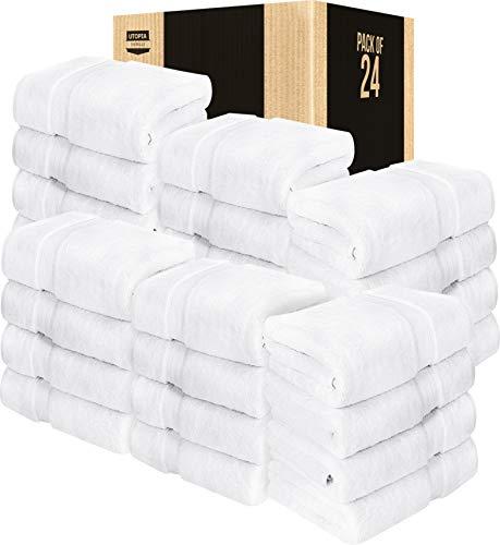 Utopia Towels 24 Pack Premium Bath Towels Bulk (27 x 54 inches Towel Set Bulk), White