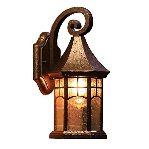 ROLLWER Traditional Outdoor Wall Light Fixture and Clear Glass Lampshade, for Exterior Patio Porch Balcony, Living Room, Gate, Garden, - Garden Gate Courtyard