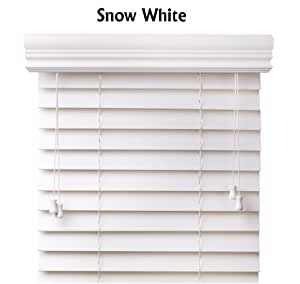 Premium 2 inch faux wood blinds, Snow White, 52 x 60