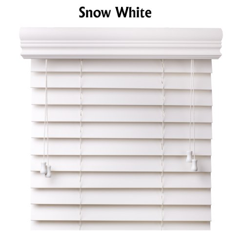 Arlo Blinds Snow White 2-Inches Faux Wood Horizontal Blinds – Size: 57 5/8″ W x 60″ H