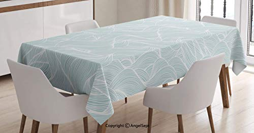 - AngelTablecloth 100% Waterproof Table Cloth,Contemporary Ocean Storm Abstraction with Wavy Lines Doodle Style,for Indoor Outdoor Kitchen Dinning,Baby Blue and White,5570 inch