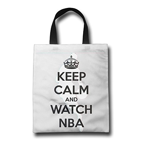 WH&SY Keep Calm And Watch Basketball Reusable Shopping Bagtote Large Size Premium Quality Tote Bag Recycle Bag Foldable Eco Shopping Bag H*W 16.93 Inch * 14.17 Inch White